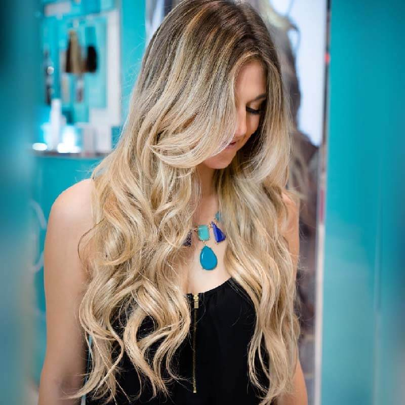 """Rooted Warm Blonde Highlights 24"""" Premium Human Hair Hand Tied with Silk Top Wigs [B112901]"""