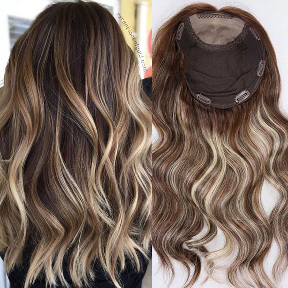 """Rooted Warm Brown Balayage 18"""" Air Dries Straight Remy Human Hair Topper B041303"""